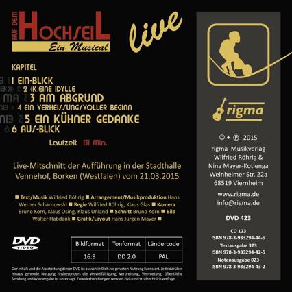 rigma | Auf dem Hochseil - Ein Musical | DVD 423 | Rückseite
